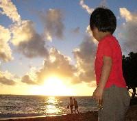 ワイキキ・ビーチの夕日